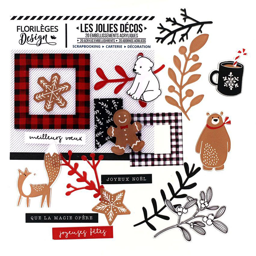 Décos Christmas Cocooning - 20 embellissements acryliques