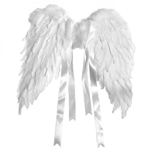 Ailes d'ange en plumes 50 x 40 cm - blanc