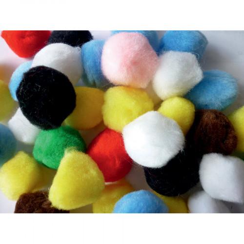 Assortiment de 50 pompons multicolores - Ø3,5 cm