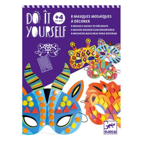 Kit 8 Masques mosaïques Animaux de la jungle à décorer