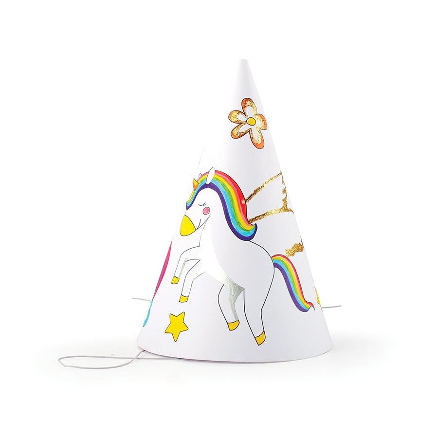 Chapeaux de fête à décorer Licorne - 6 pcs