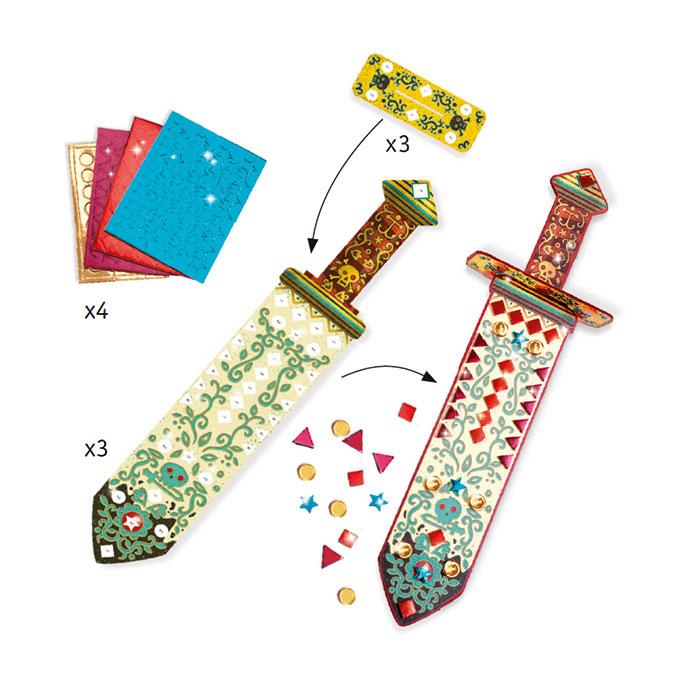 Kit 3 Sabres mosaïques à décorer