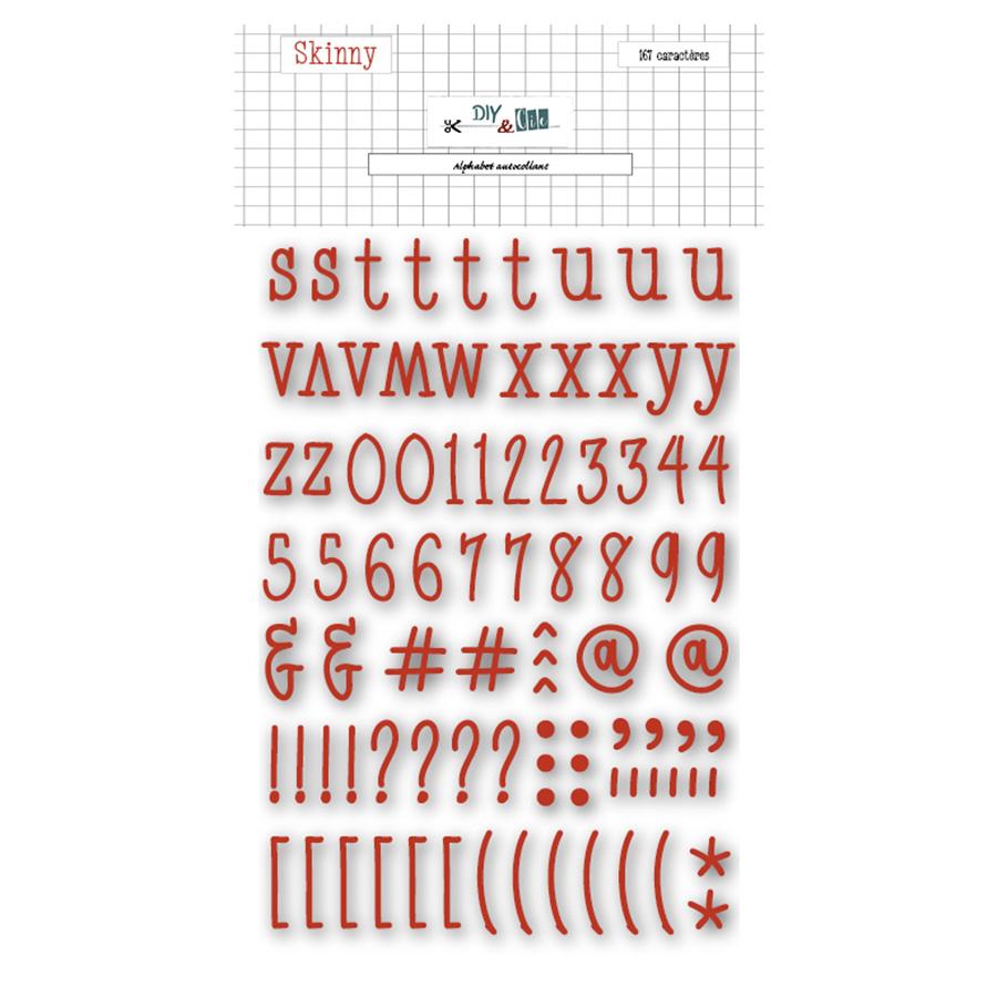 Alphabet en chipboard Skinny rouille - 167 pcs