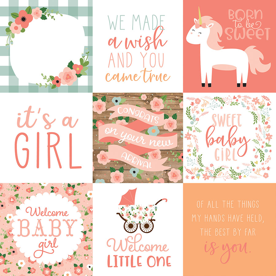 Baby Girl - Papier 4x4 Journaling Cards
