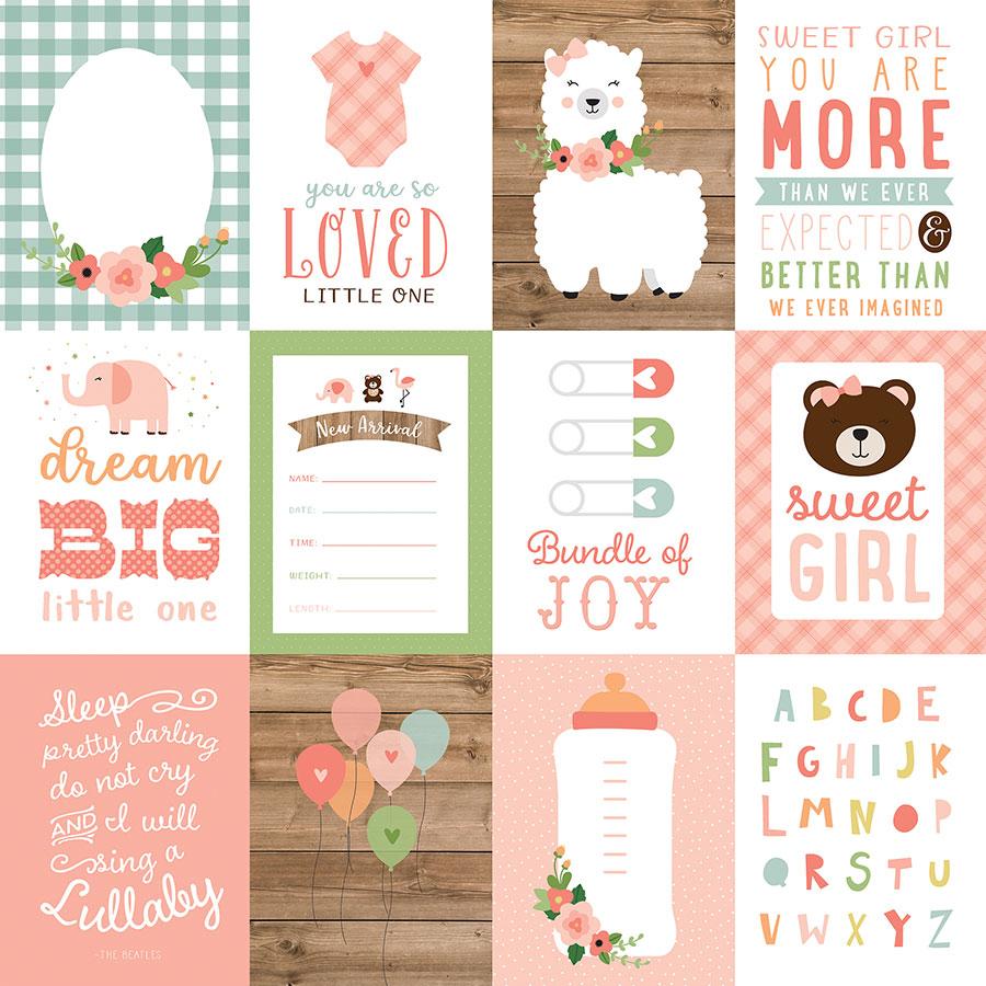 Baby Girl - Papier 3x4 Journaling Cards