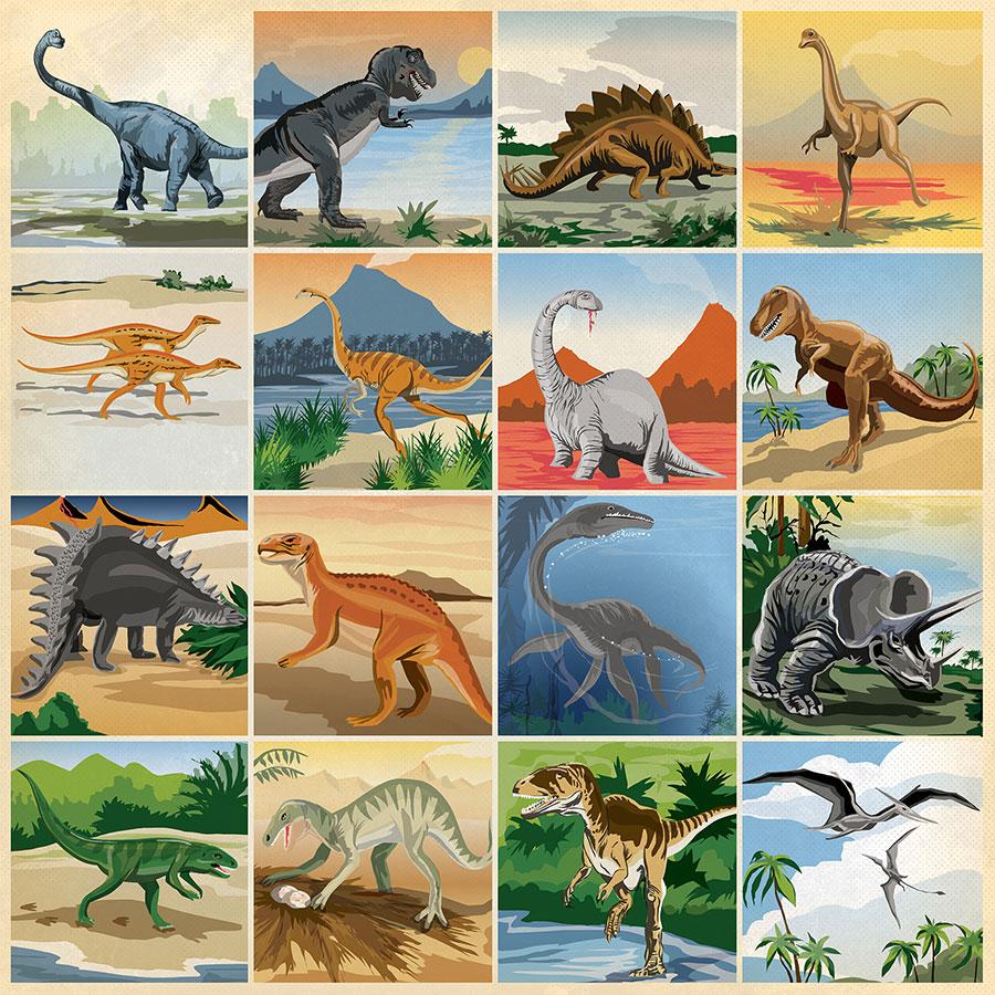 Dinosaurs - Papier 3x3 Journaling Cards