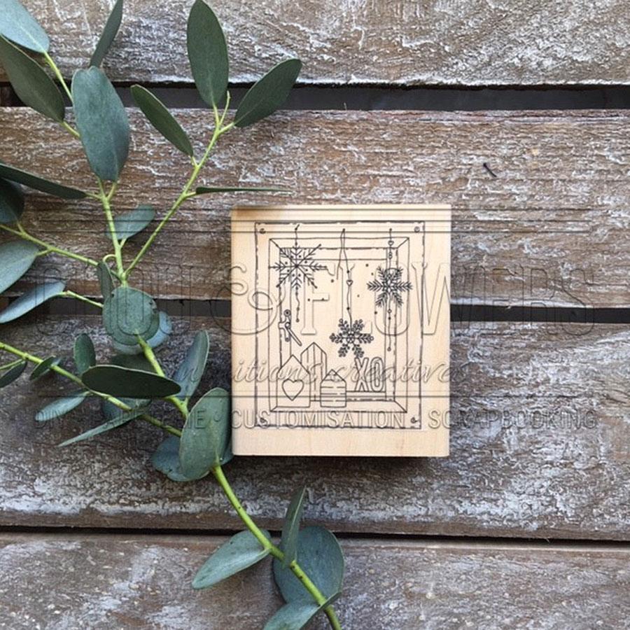 Tampon bois Fenêtre Xo - 7 x 8 cm