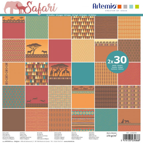 Assortiment de 60 feuilles Safari 30 x 30 cm
