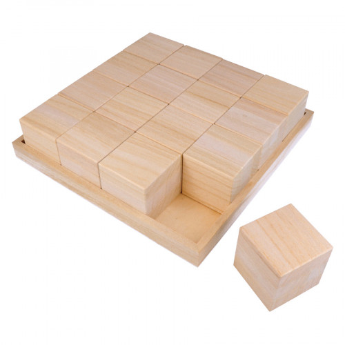 Plateau avec 16 cubes 26,5 x 26,5 x 6,5 cm
