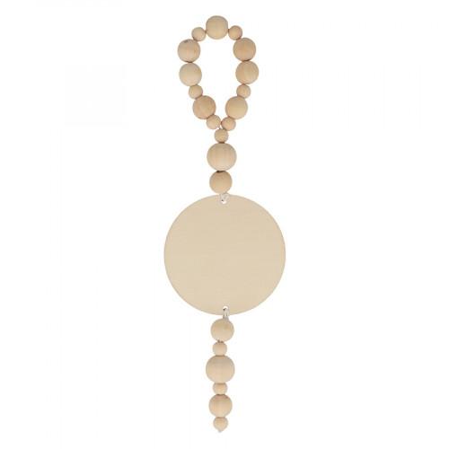 Décoration perles en bois 8 x 28 cm