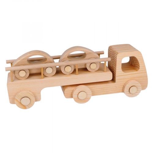 Camion porte-voiture en bois - 31,5 x 11 x 8 cm