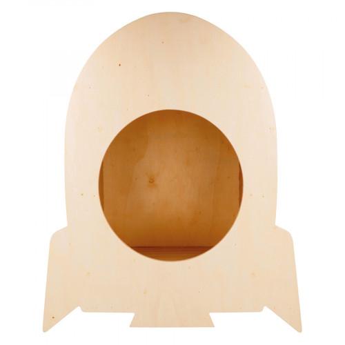 Etagère Fusée en bois avec éclairage 30,5 x 36 x 12 cm