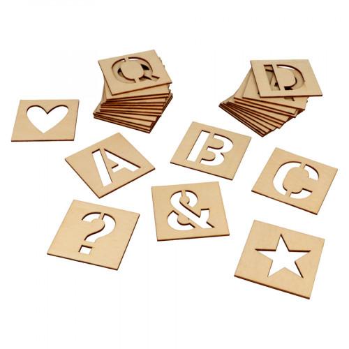 Pochoirs en bois Alphabet 6 x 6 cm - 30 pcs