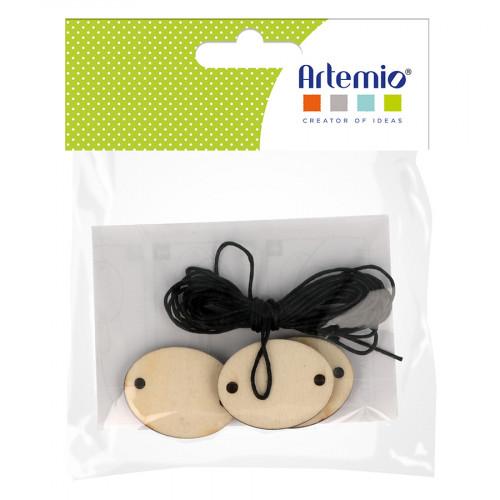 Pendentifs ovales en bois 3,5 x 2,7 x 0,5 cm avec corde