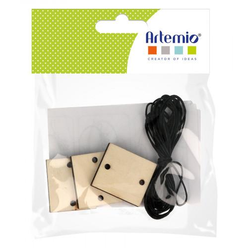 Pendentifs rectangles en bois 3,2 x 2,8 x 0,5 cm avec corde