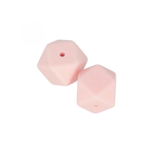 Perles en silicone hexagonales 1,7 cm - rose poudré - 2 pcs
