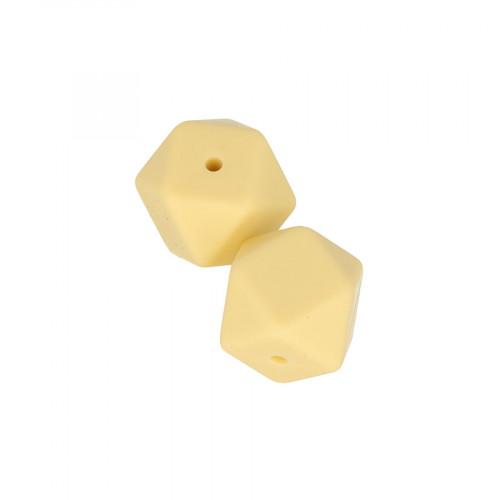 Perles en silicone hexagonales 1,7 cm - jaune - 2 pcs