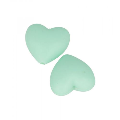 Perles en silicone Cœur 2,9 x 1,9 x 1,2 cm - vert d'eau - 2 pcs