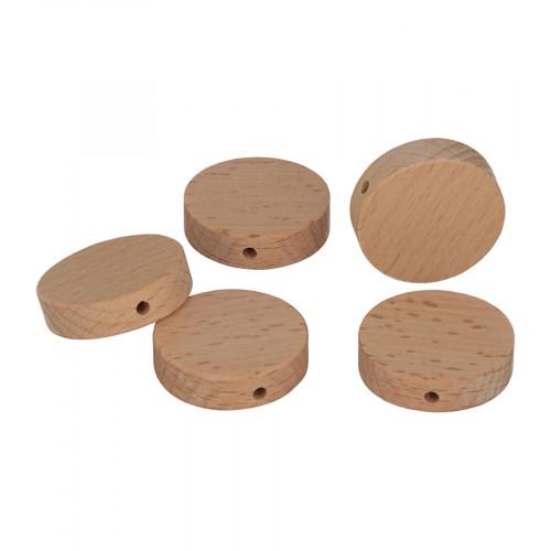 Perles en bois rondes 3 x 3 x 0,8 cm - 5 pcs