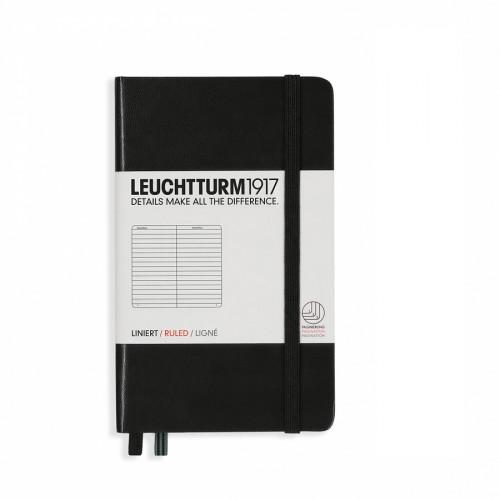Carnet rigide 9 x 15 cm - noir / pages lignées