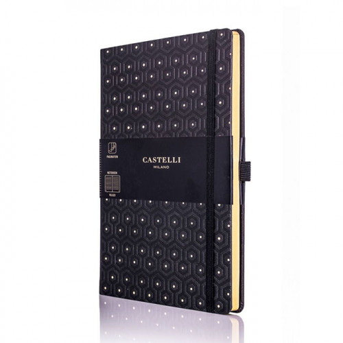 Carnet de notes ligné Black & Gold Honeycomb 13 x 21 cm