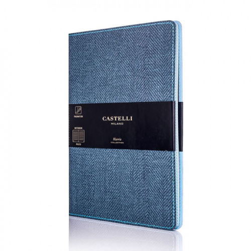 Carnet de notes ligné Harris bleu 13 x 21 cm