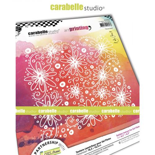 Tampon texture pour Gel Press Champs de fleurs - 16,5 x 16,5 cm