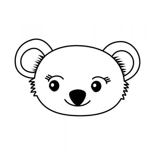 Tampon bois Tête de koala - 2,6 x 3,6 cm