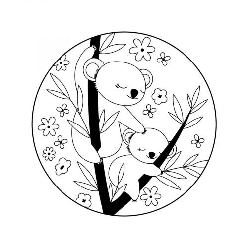 Tampon bois Maman et bébé koala - 10 x 10 cm