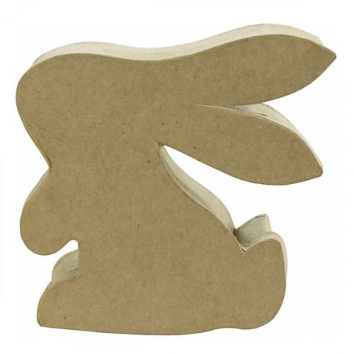 Boîte lapin en papier mâché - 12,5 x 4 x 12,5 cm