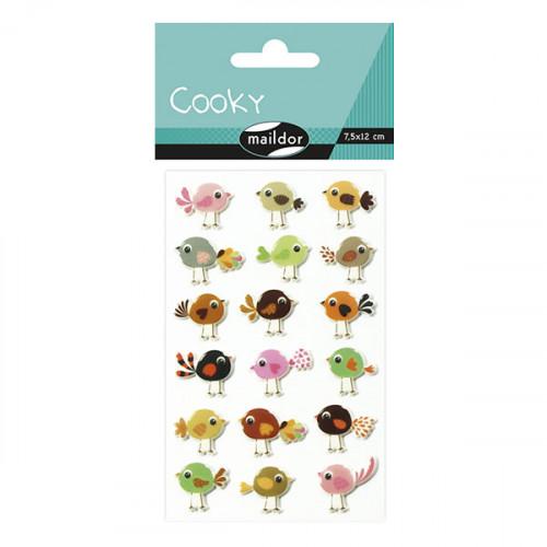Stickers 3D - Cooky - Oiseaux x 18 pcs