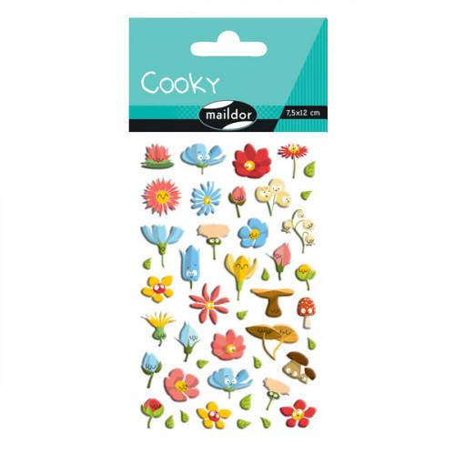Stickers 3D - Cooky - Fleurs x 45 pcs
