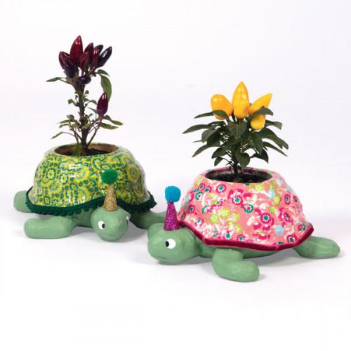 Cache pot tortue en papier mâché - 19 x 16,5 x 7 cm