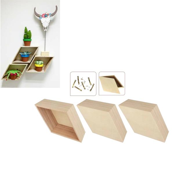 Etagère Losange en bois 34,5 x 20 x 10,5 cm - 3 pcs