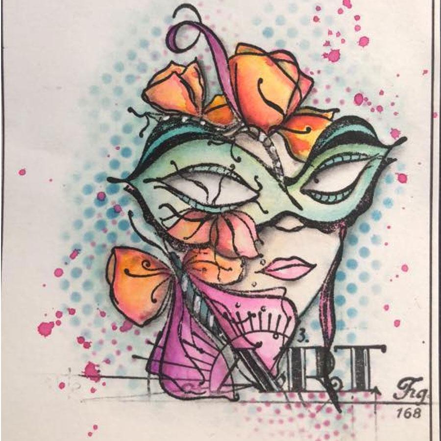 Tampons Cling Masques vénitiens - 2 pcs