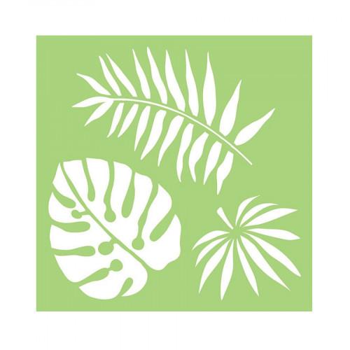 Pochoir Grandes feuilles tropicales - 15 x 15 cm