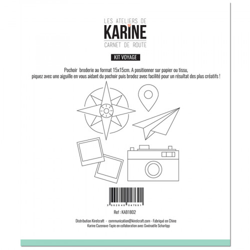 Pochoir Borderie Kit voyage - 15 x 15 cm