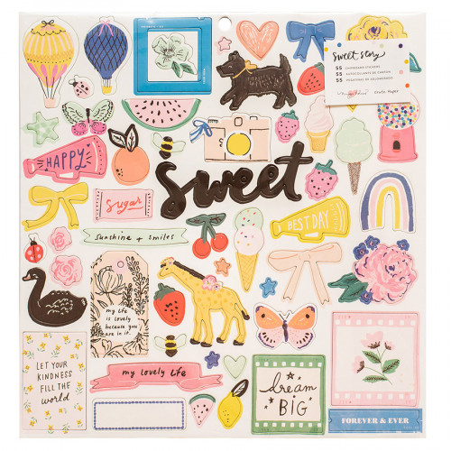 Sweet Story Chipboard Stickers - 55 pcs