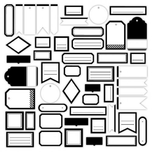 Assortiment Etiquettes #9 - blanc pur et noir profond
