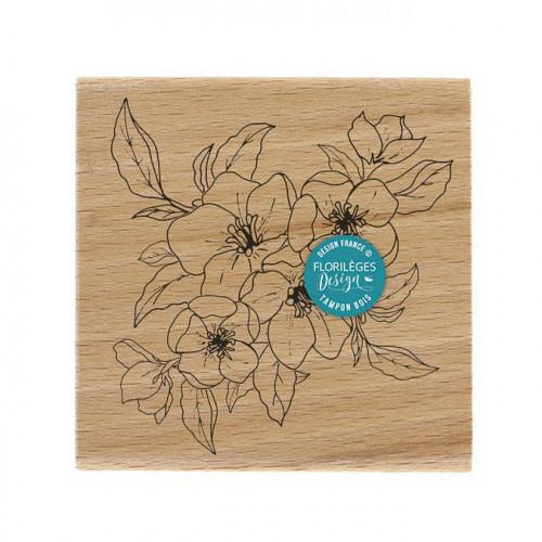 Tampon bois Fleurs de pommier - 10 x 10 cm
