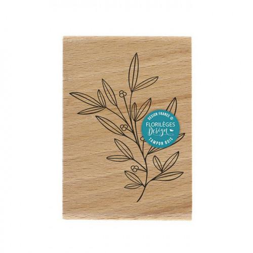 Tampon bois Doux feuillage - 7 x 10 cm