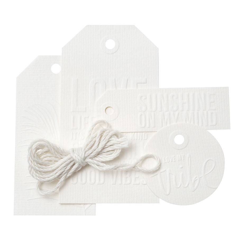 Art Walk Etiquettes embossées blanches - 12 pcs