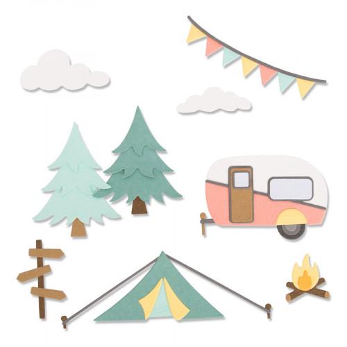 Thinlits Die Set Au camping - 17 pcs