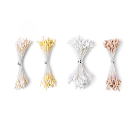 Pistils de fleur - blanc/crème - 400 pcs