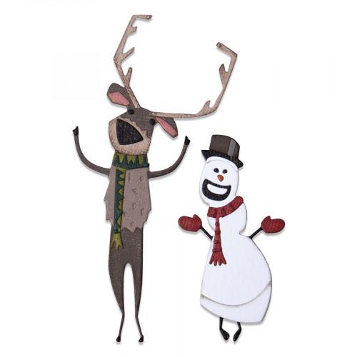 Thinlits Die Set Colorize Cerf et Bonhomme de neige - 15 pcs