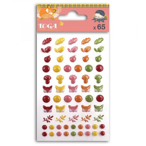 Stickers époxy Foxy - 65 pcs