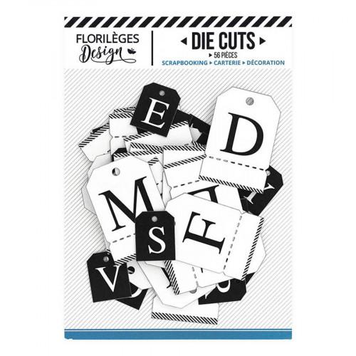 Etiquettes Alphabet blanc et noir - 56 pcs