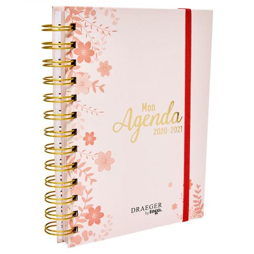 Agenda rose à fleurs 2020-2021 - 13 x 18 cm