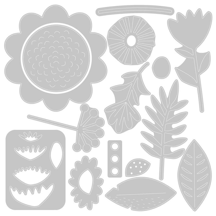 Thinlits Die Set Fleurs tropicales - 15 pcs
