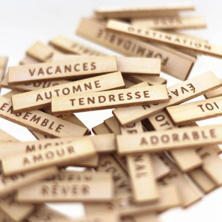 Découpes en bois gravé Jolis mots #2